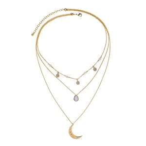 Moon Clavicle Layered Gold Pendant Necklace